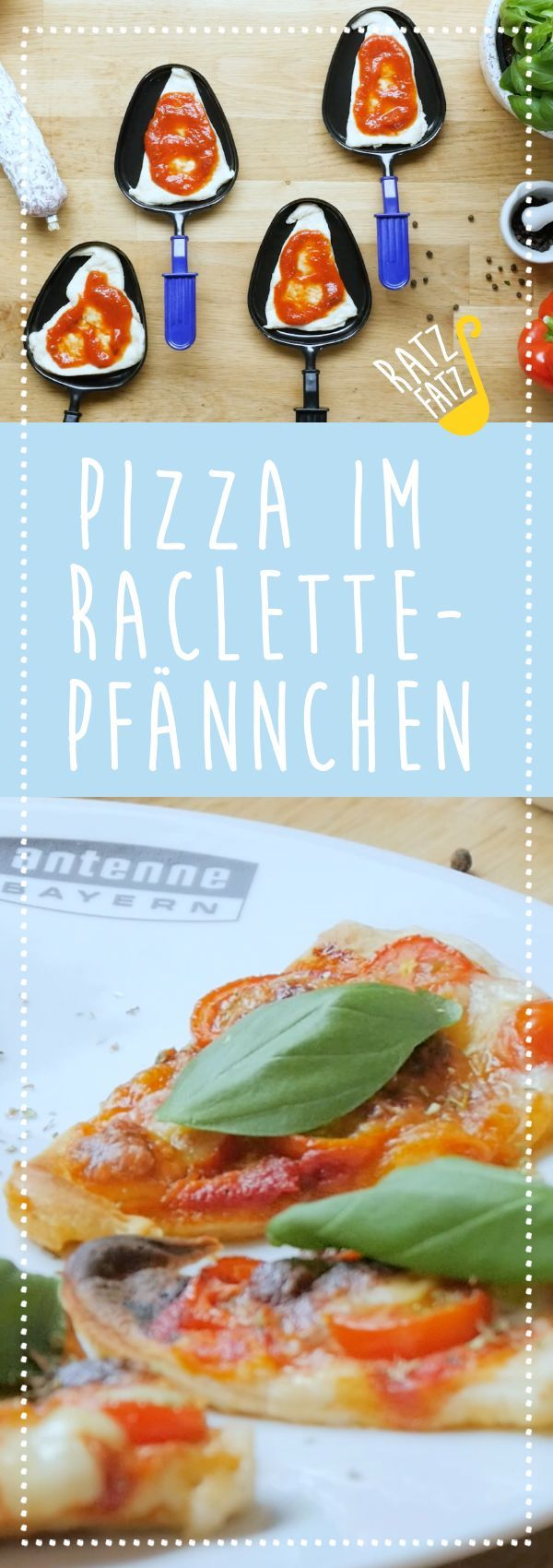 Pizza in raclette pans  Pizza in raclette pans
