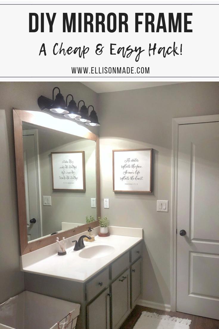 Diy Builder Grade Mirror Frame Mirror Frame Diy Bathroom Mirror Bathroom Mirrors Diy