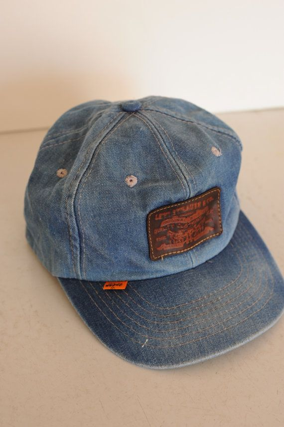 Vintage Levi s Blue Denim Cap   Leather by TheOldWell on Etsy ... 75607c7c786