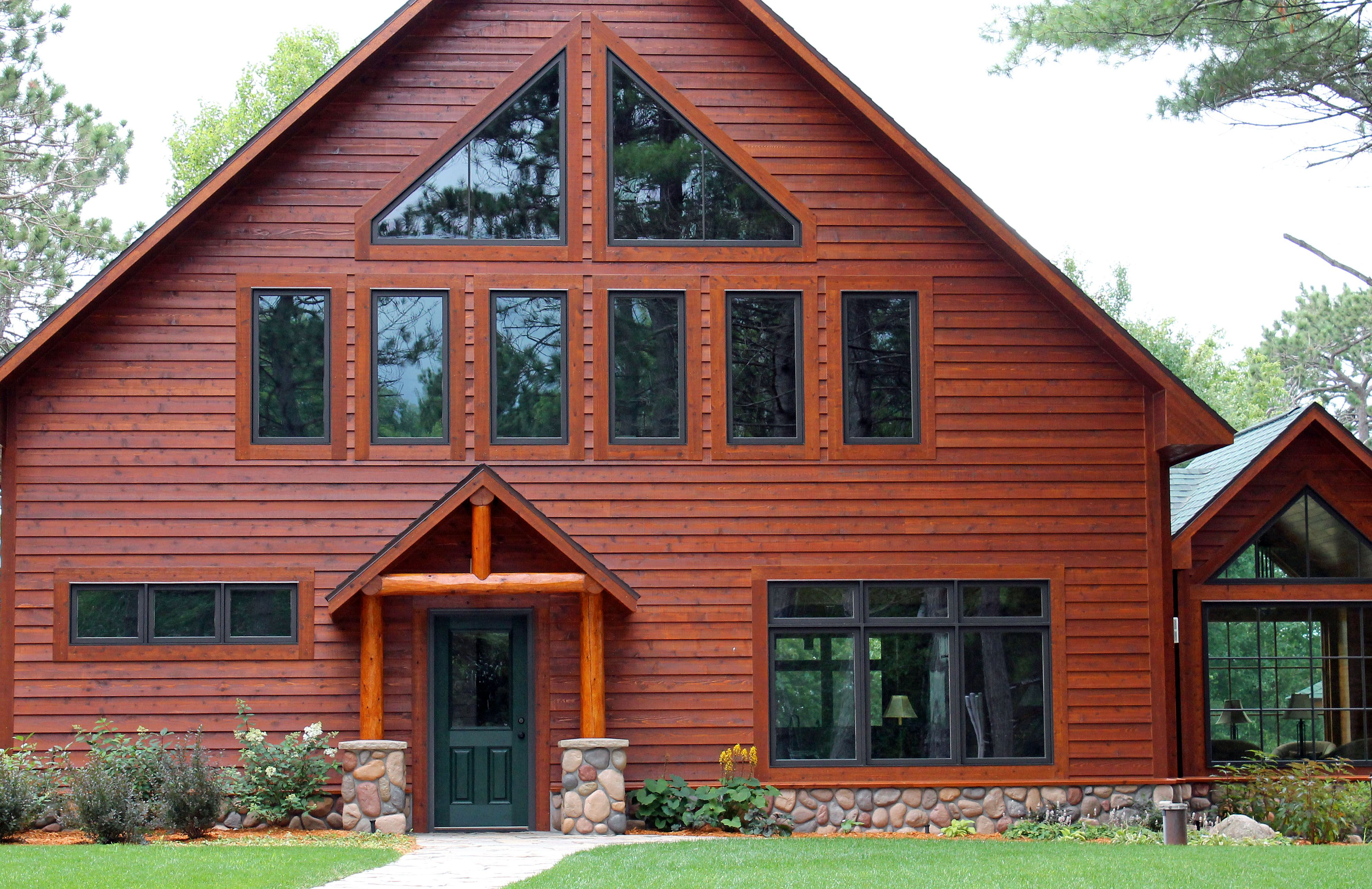 5 4 8 Tight Knot Cedar Rabbeted Bevel Sikkens 077 Cedar 085 Teak Wood Siding Bevel Exterior Colors