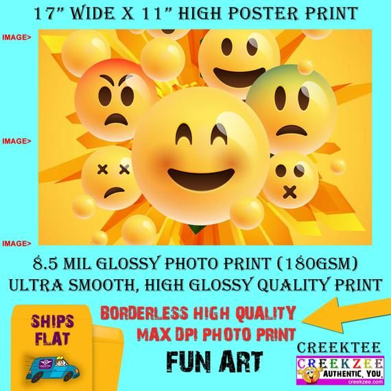 11x17 Poster Photo Print Art Emoji Collage Fun Poster Landscape Orientation High Quality Glossy Smooth Photo Print Poster Prints Magnetic Bumper Stickers Fun
