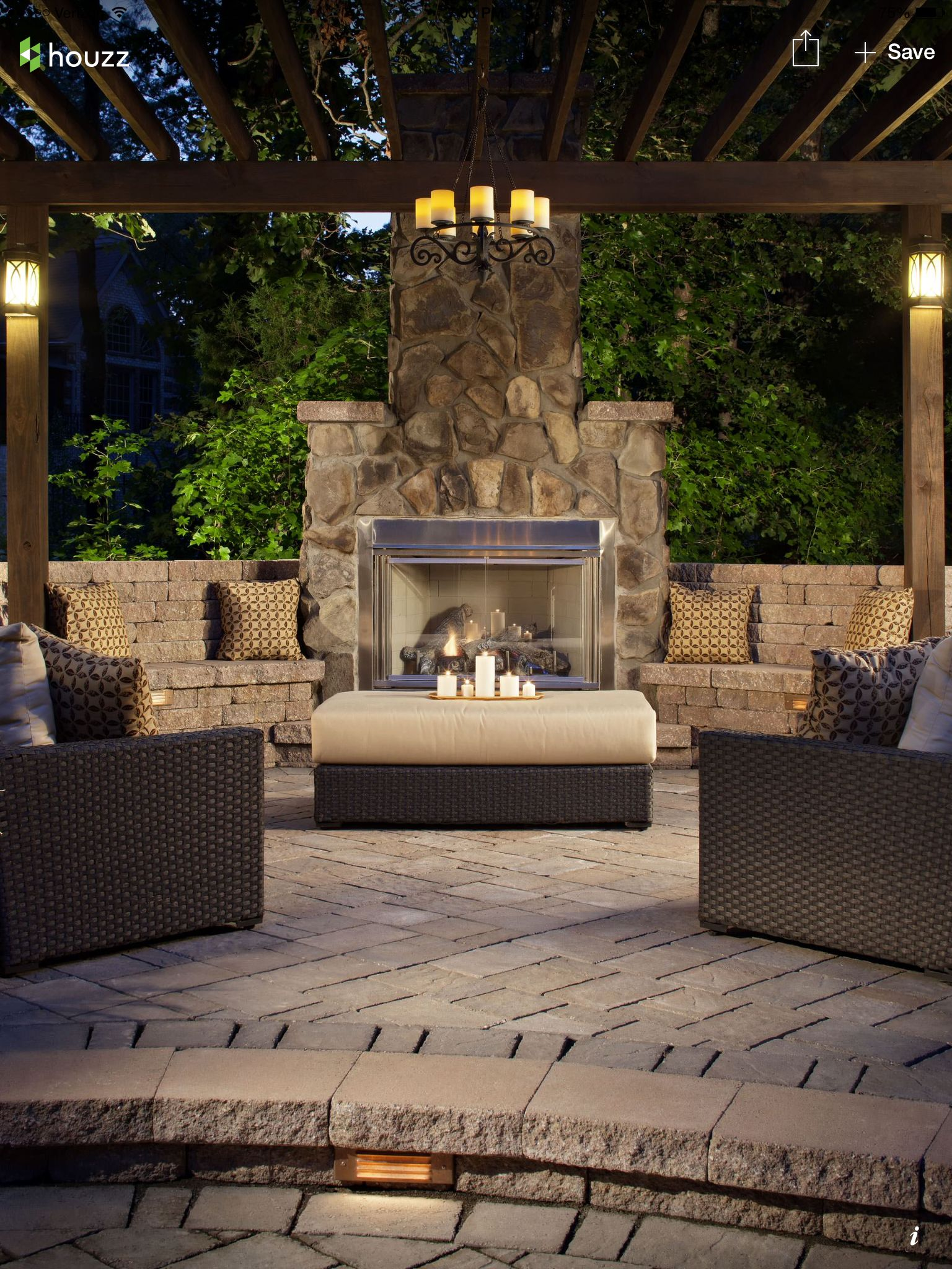 Beautiful outdoor environment Outdoor Pool Fireplace in