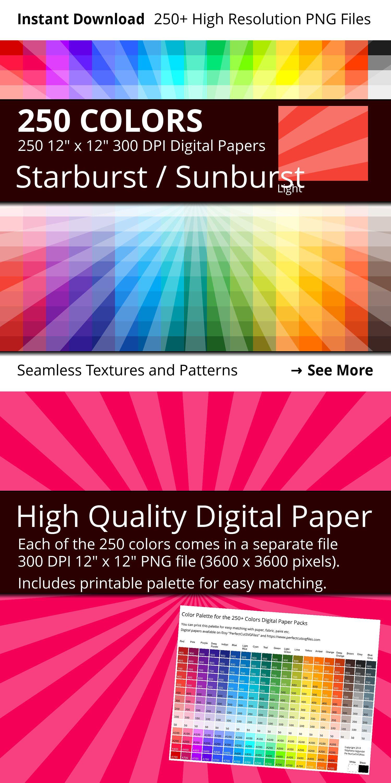 Starburst Digital Paper Pack In 250 Different Colors Star Burst Sunburst Pattern With Light Sun Ra Digital Paper Digital Paper Pack Digital Scrapbook Paper