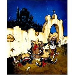 Muchachos Borrachos by David Lozeau Tattoo Art Canvas Print. David Lozeau has a character-driven style that is a quirky blend of Mexican folk art, 1950s cartoon-cell animation, traditional tattoo imagery, and pure Southern California lowbrow