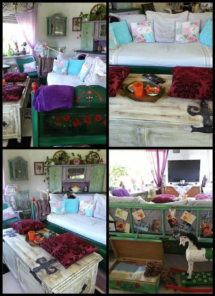 warum nicht mal einfach ein altes bemaltes bauernbett als sofa ins wohnzimmer stellen als. Black Bedroom Furniture Sets. Home Design Ideas