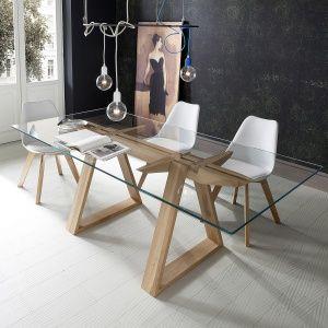 table design en verre trempé et bois massif - tokyo   idées maison