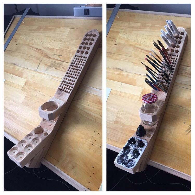 """Eric Powell on Instagram: """"This morning made this thing to hold crap on a slanted drawing table. Because, shit, might as well be organized for the apocalypse."""""""
