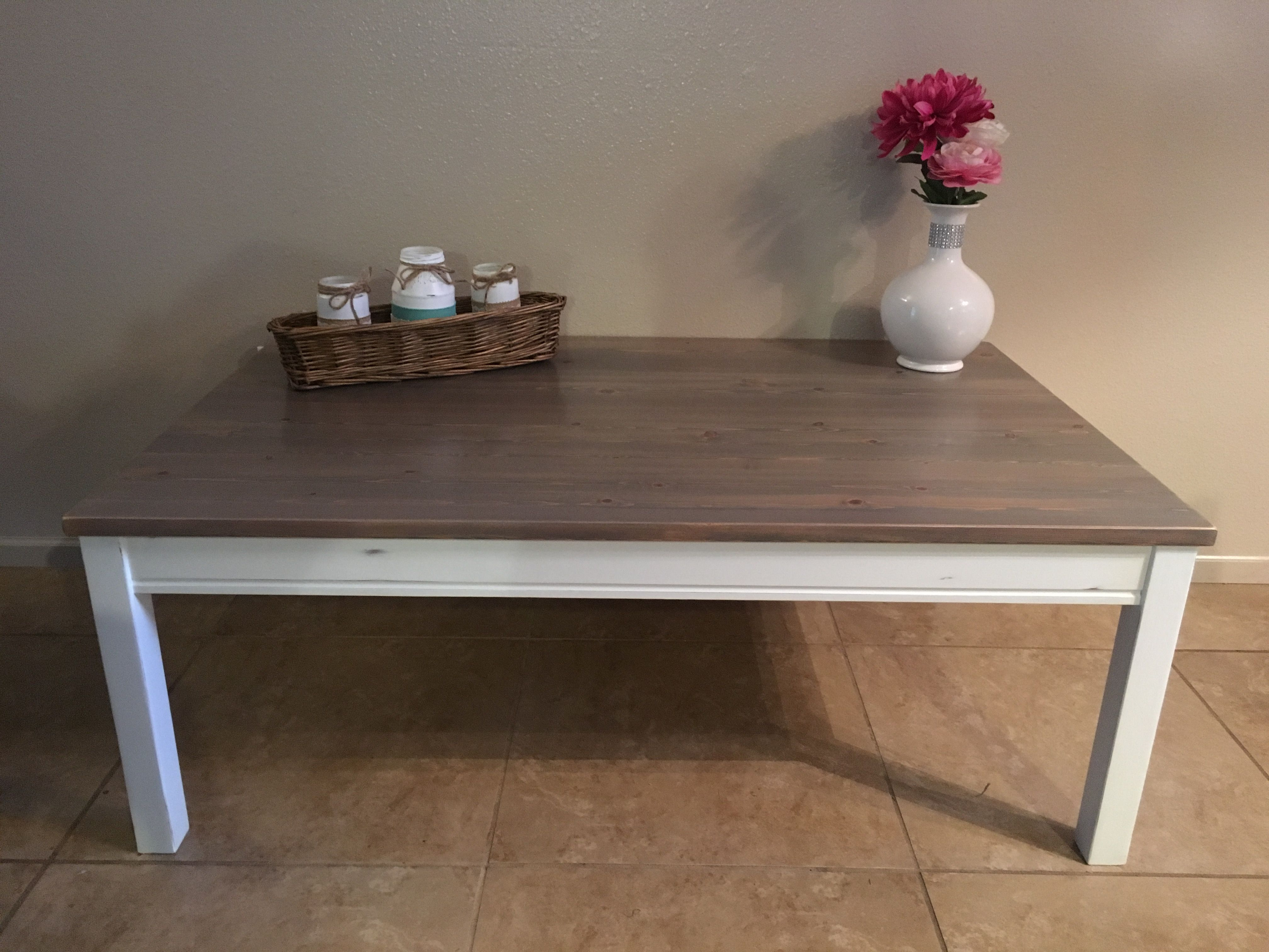 Farmhouse coffee table in classic grey minwax stain and