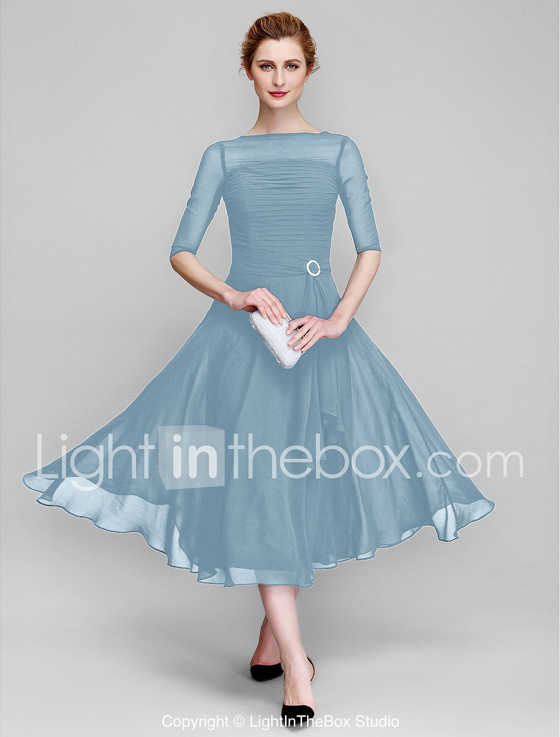A-Line Bateau Neck Tea Length Chiffon Mother of the Bride Dress with ...