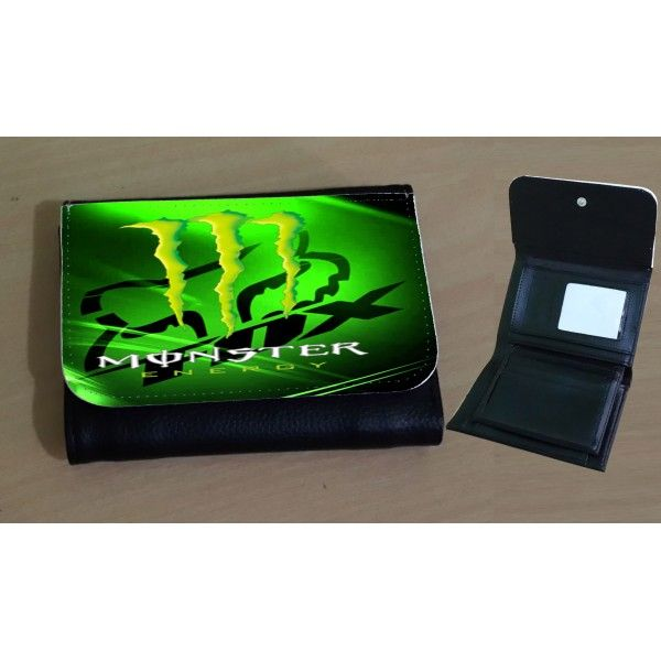 Leather Wallet Monster Energy Green for man LW101 | Gift and Stuff ...