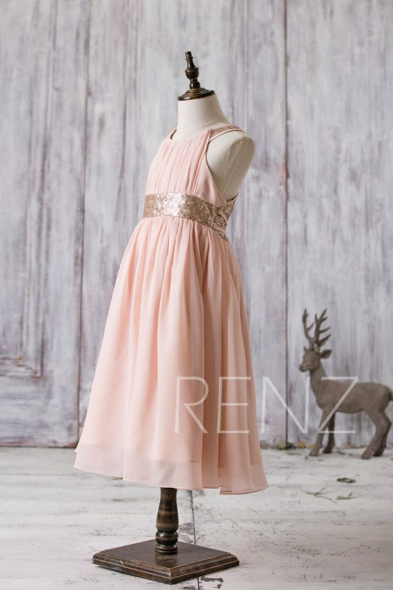 Junior Bridesmaid Dress Peach Rose Gold Sequin Flower Girls Dress,A ...