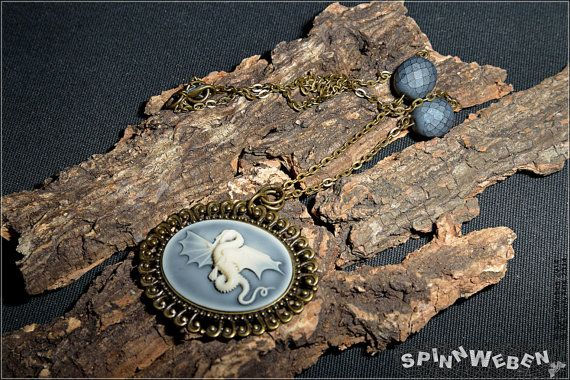 Dragon Amulet  necklace locket czech glass setting by SpinnWeben, €28.00