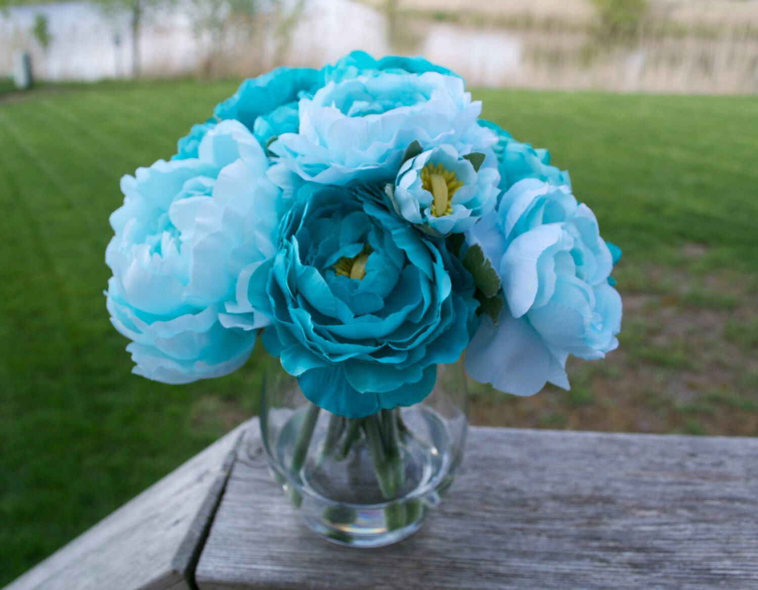 Turquoise teal peonies in glass vase with faux water acrylic turquoise teal peonies in glass vase with faux water acrylic water luxury flowers blue flowers reviewsmspy