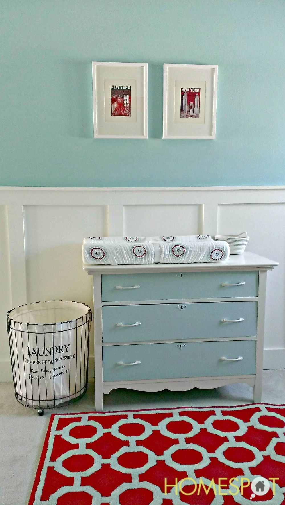 Nursery changing table made from an upcycled dresser, rustic wire ...