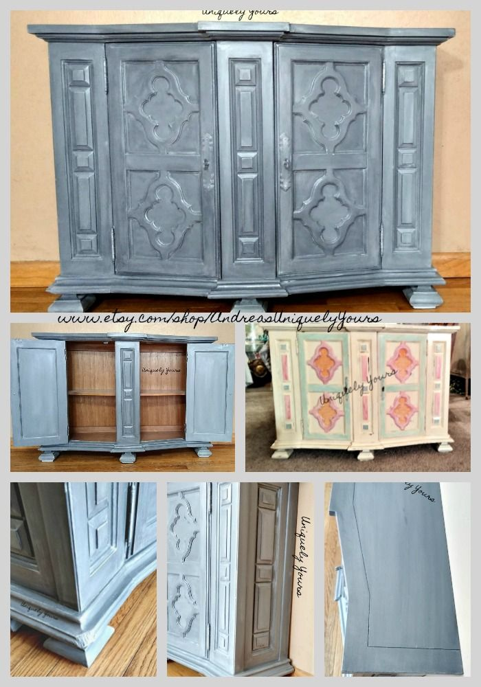 Steel Gray Industrial Modern Entryway Cabinet Small Buffet TV Console Coffee Bar Hand Painted Metallic #vintagefurniture #handpainted #industrial #modern #recycledfurniture #uniquelyyourscustomfurniture #smallbusiness #upcycle #creativeentrepreneur #furnituremakeover #dixiebellepaint #furniturerescue #homedecor