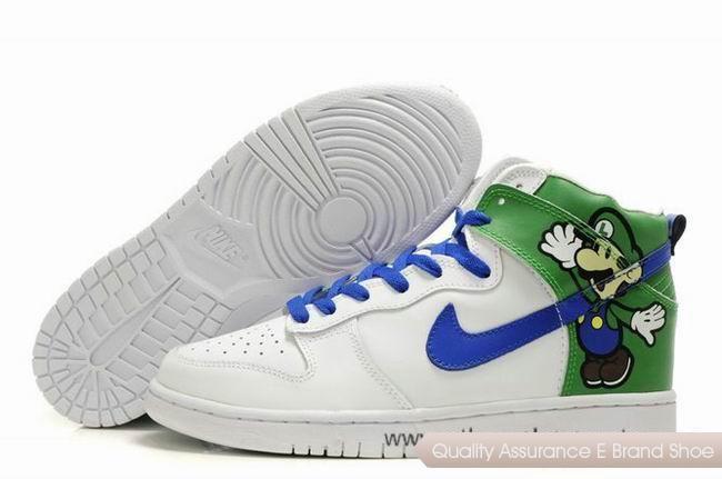 Chaussures Nike Dunk SB Luigi Paper Mario Custom Blanc Vert Bleu Hommes  http://