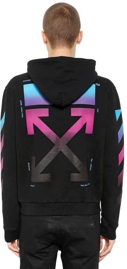 00782a92ddc4 Gradient Arrows Zip-Up Sweatshirt Hoodie  zip closure Ribbed