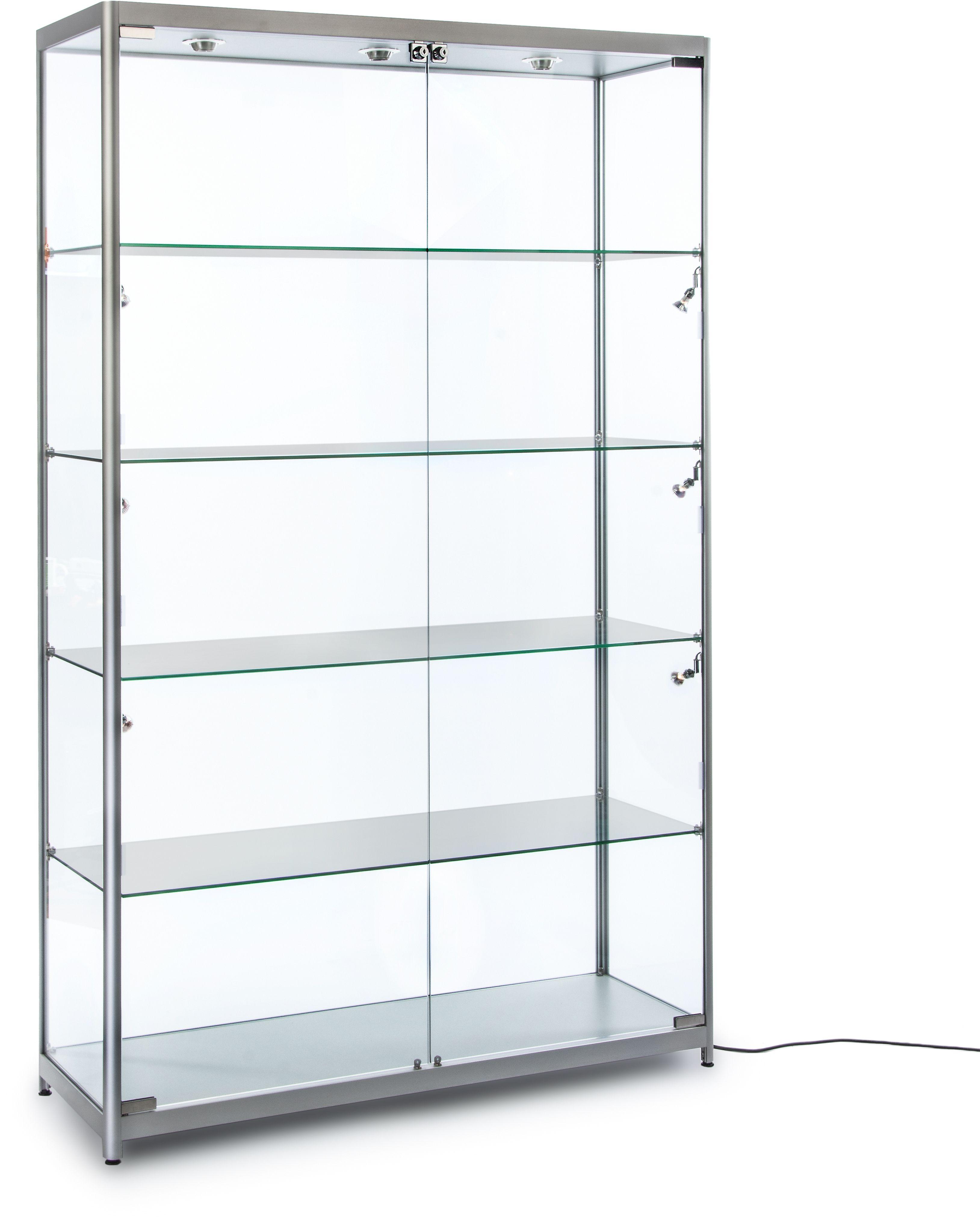 48 Display Case W 9 Halogen Top Side Lights 4 Fixed Shelves Hinged Doors Silver Shelves Glass Wall Shelves Glass Shelves