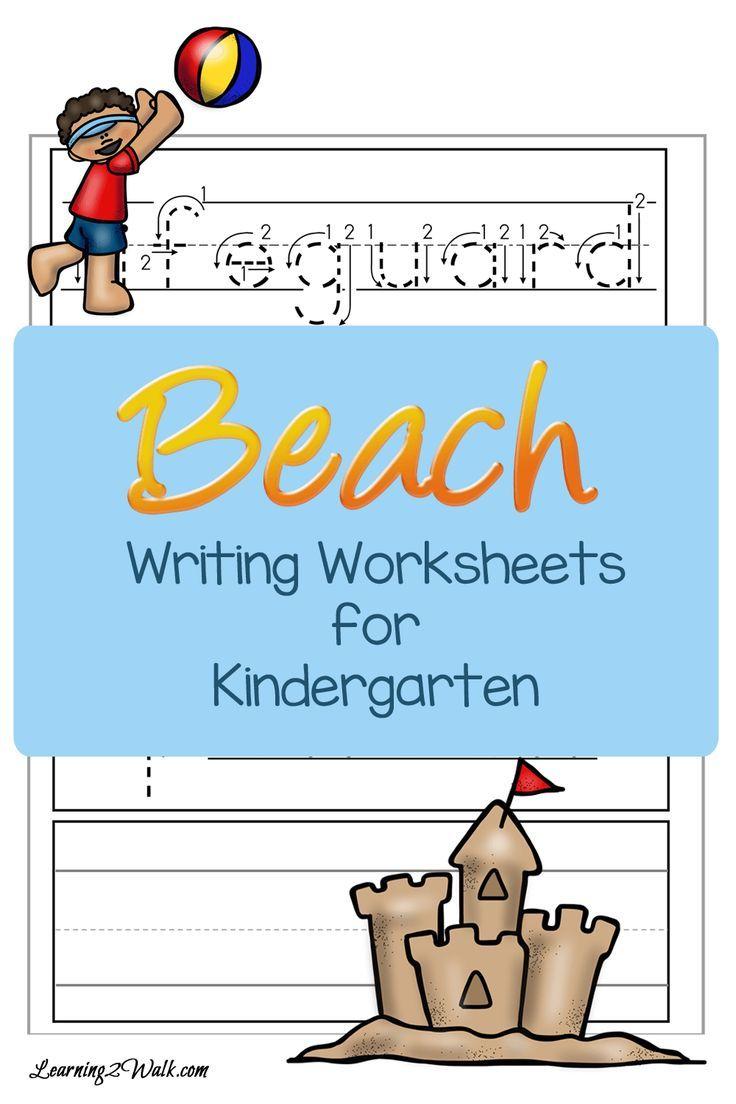 Beach Writing Worksheets For Kindergarten Kindergarten Worksheets Writing Worksheets Kindergarten Kids [ 1104 x 736 Pixel ]
