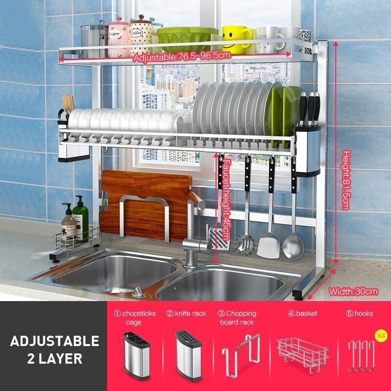 Adjustable 304 Stainless Steel Kitchen Dish Rack Kitchen Organizer Storage