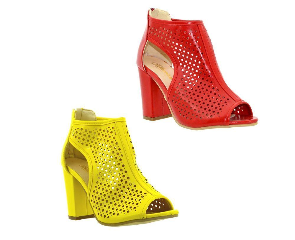 c49c092d7ae Sandali donna spuntati scarpe estive traforate tronchetti aperti con tacco