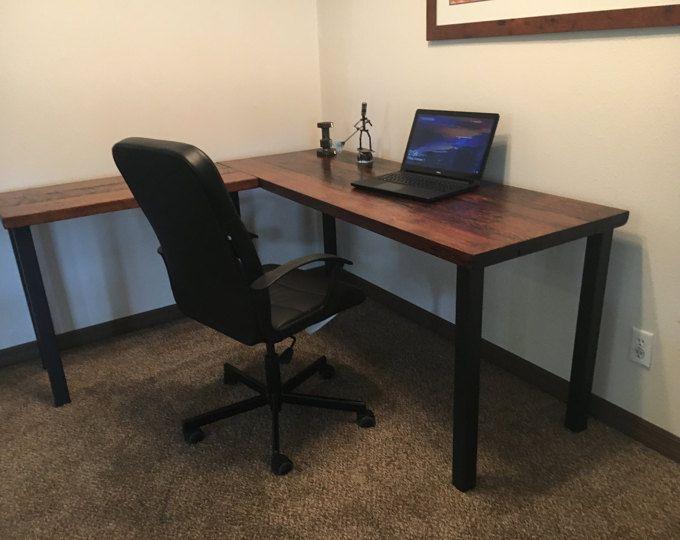 En forma de l escritorio escritorio de madera reciclada - Escritorios rusticos de madera ...