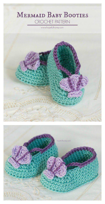 Crochet Mermaid Baby Booties Free Pattern | Bebé, Tejido y Flores