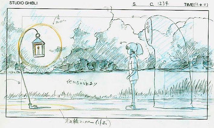 Film Spirited Away 千と千尋の神隠し Layout Design Scene Lantern Guide Hayao Miyazaki スケッチ アニメ 原画 動画 背景