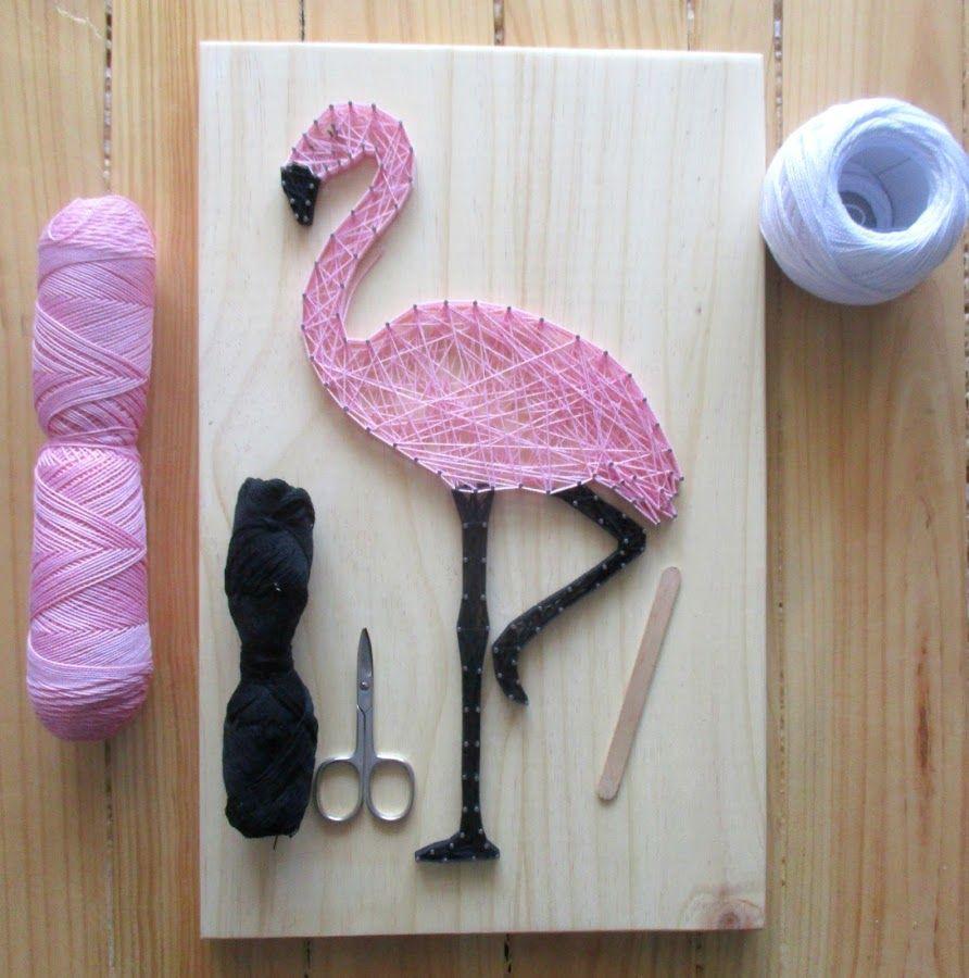 D i y haz un precioso flamenco con hilo string art - Manualidades con hilo ...