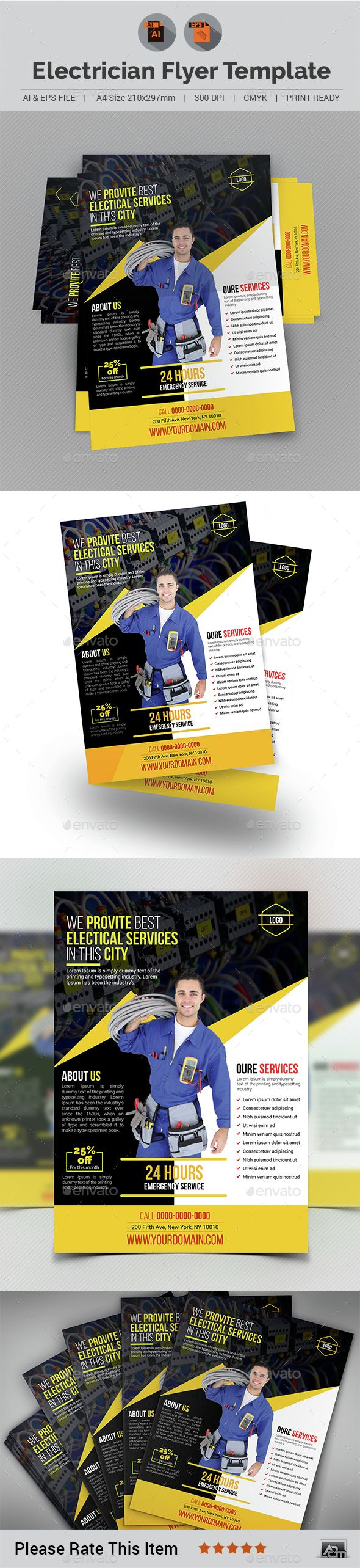 electrician flyer template labor home and tvs graphicriver electrician flyer template aam ad advert airconditioner airconditioning