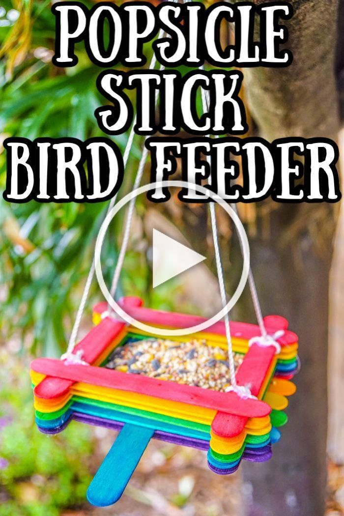 Popsicle Stick Bird Feeder. Popsicle Stick Crafts. Craft Stick Kids Crafts. DIY Birdfeeder. Kids Birdfeeders. Camping Crafts for Kids