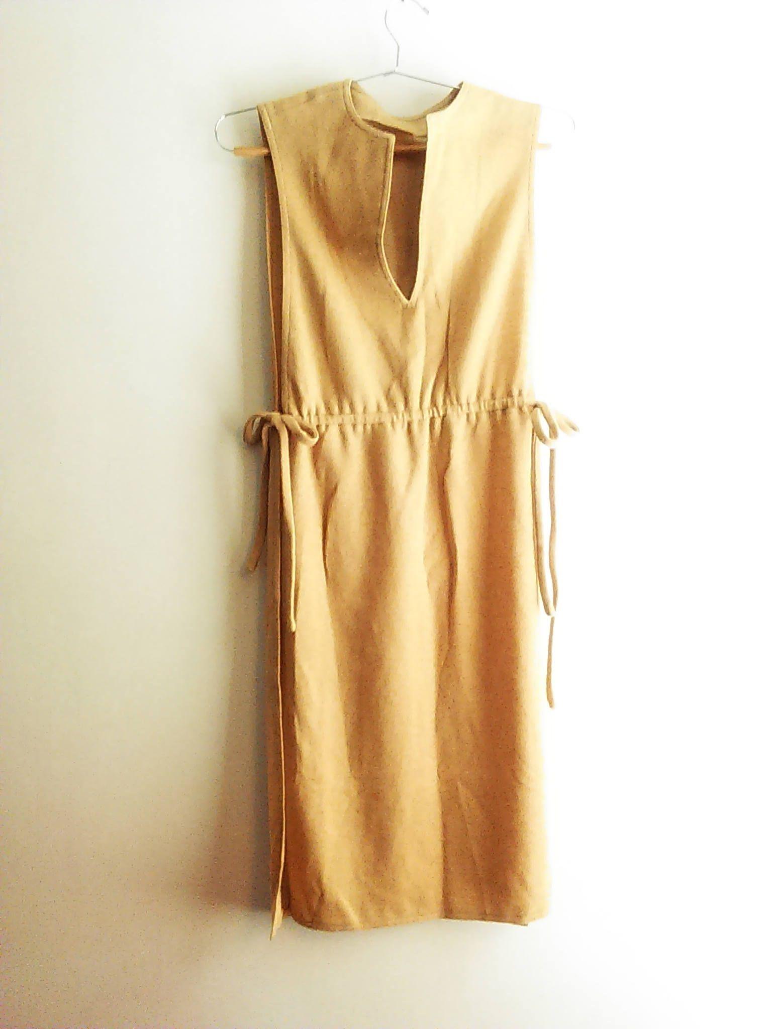 Vintage 70's Camel Midi Smock Dress / Open Sided Smock Dress W/ Ties / Layering Piece / Minimalist / Hippie / Retro / Women's Size S by JulesCristenVintage on Etsy