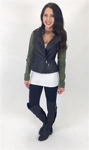 Picture of GI JANE Jacket! cropped faux leather jacket with military green sleeves!