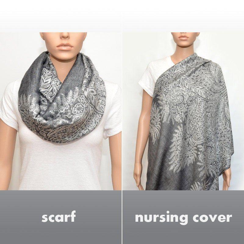 Gray Infinity Scarf Nursing Cover Scarf Nursing Scarf Nursing Cover