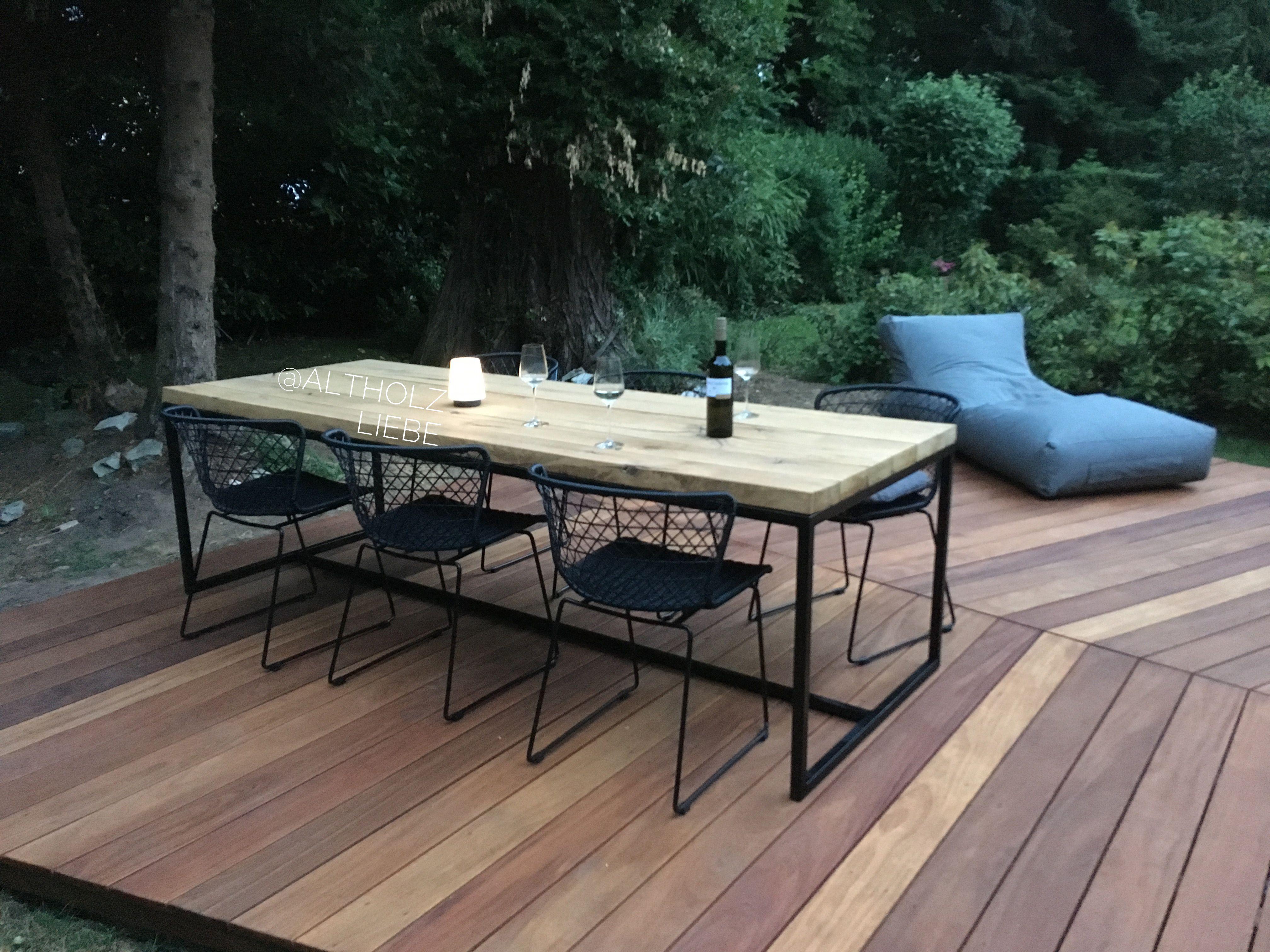 Esstisch Eiche Massiv Gartentisch Terrassentisch Eichenbalken Altholz Interieur Terrassen Tische Terrassentisch Gartentisch