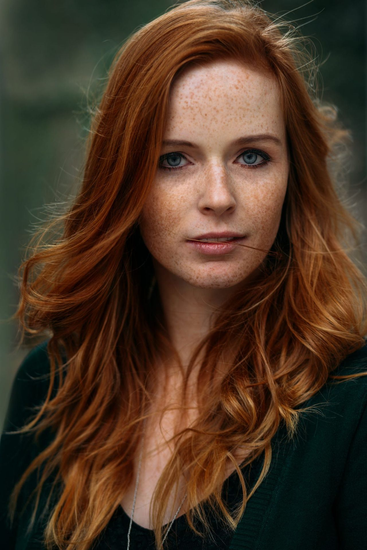 Lovely Young Red Haired Model With Freckles. Woman With