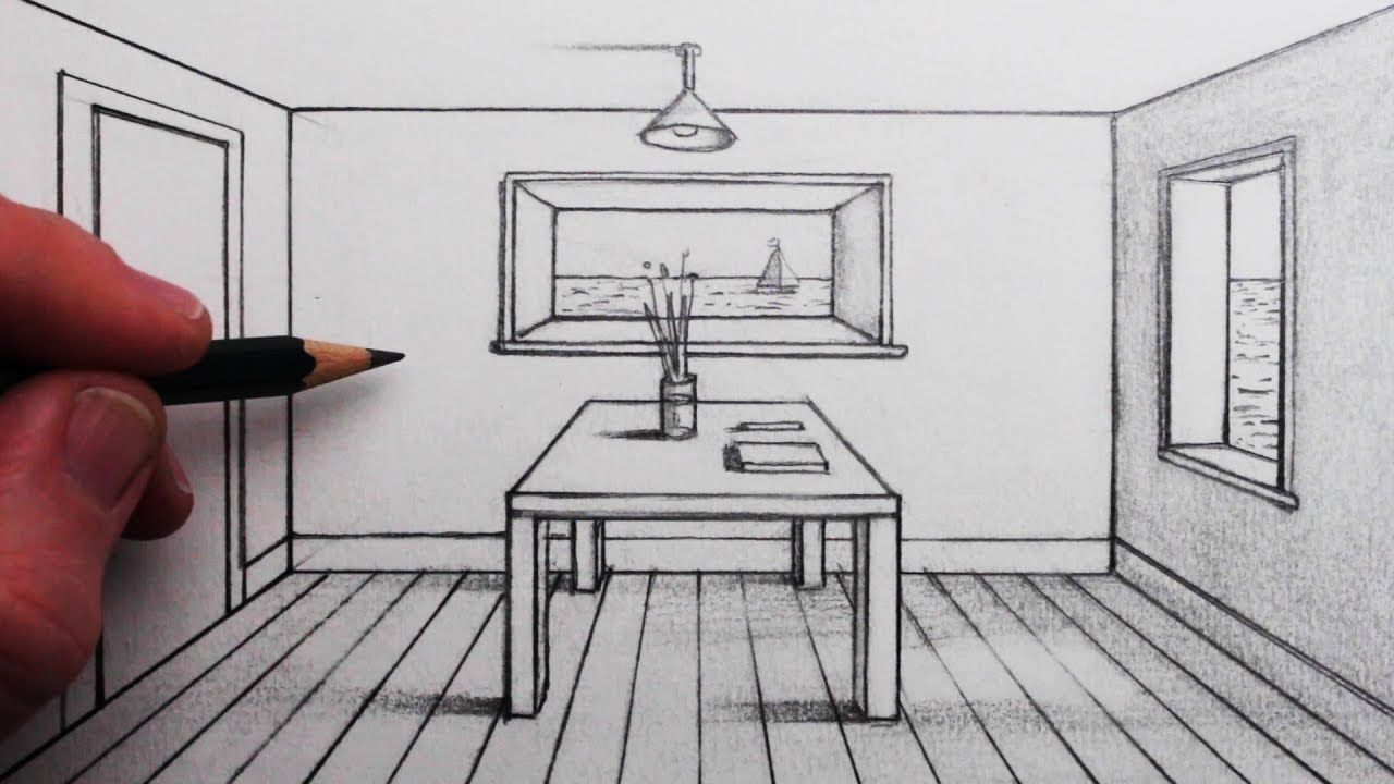 How To Draw A Room In 1 Point Perspective For Beginners Perspective Drawing Perspective Room 1 Point Perspective
