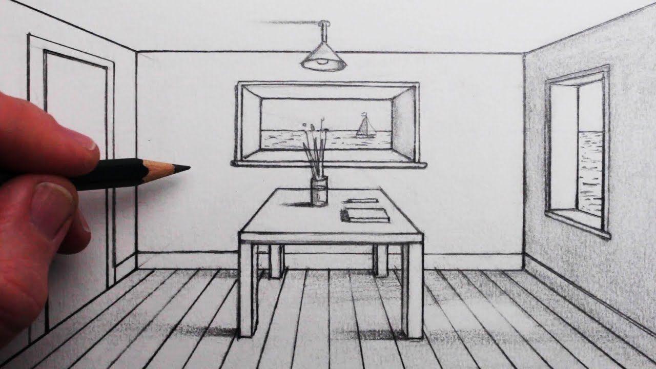 Comment dessiner une pièce dans une perspective à 1 point pour les ...