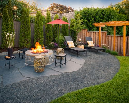 Black Star Gravel Patio Ideas Backyard Patio Designs Backyard Modern Backyard