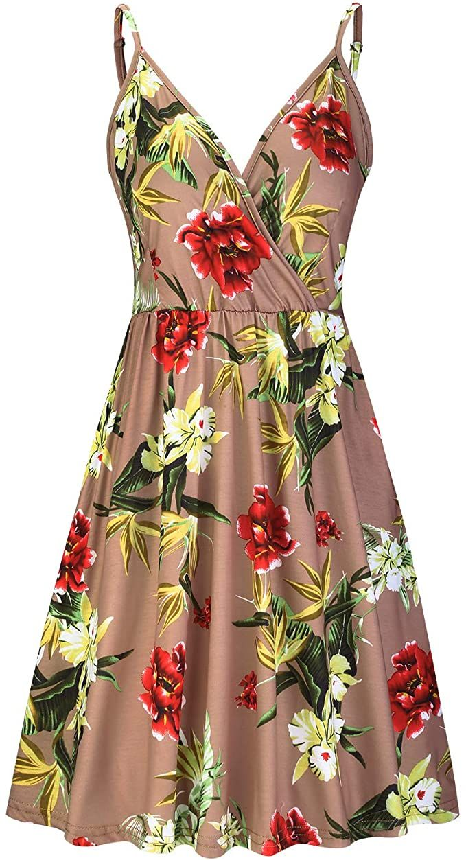 Price 25 98 Top Styleword Women S V Neck Floral Spaghetti Strap Summer Casual Swing Dress Casual Summer Dresses Swing Dress With Pockets Swing Dress [ 1253 x 679 Pixel ]