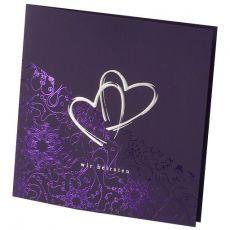 Einladungskarte Hochzeit Zwei Herzen Lila 723911