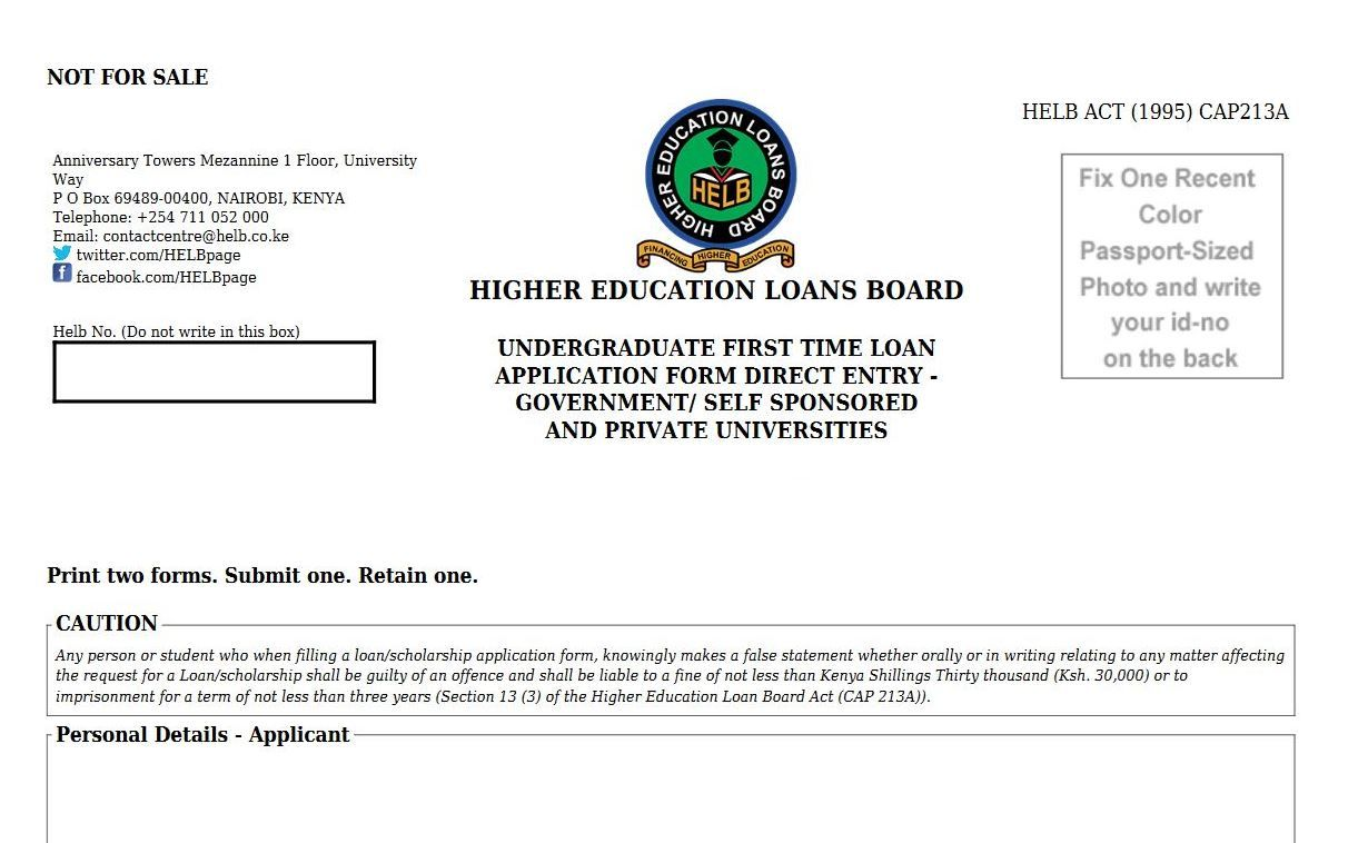 Helb loan registration procedure and application form