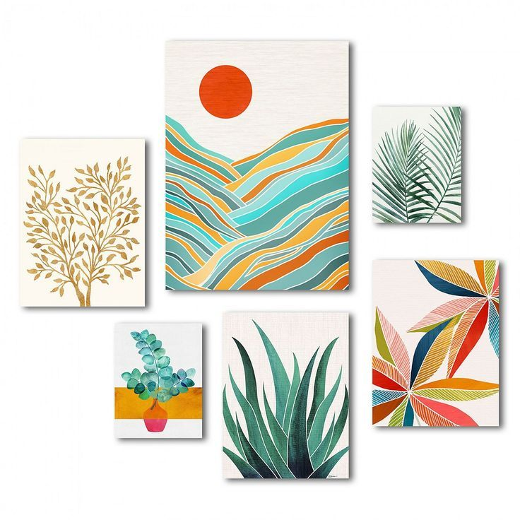 Americanflat - Modern Tropical Canvas Gallery Wall