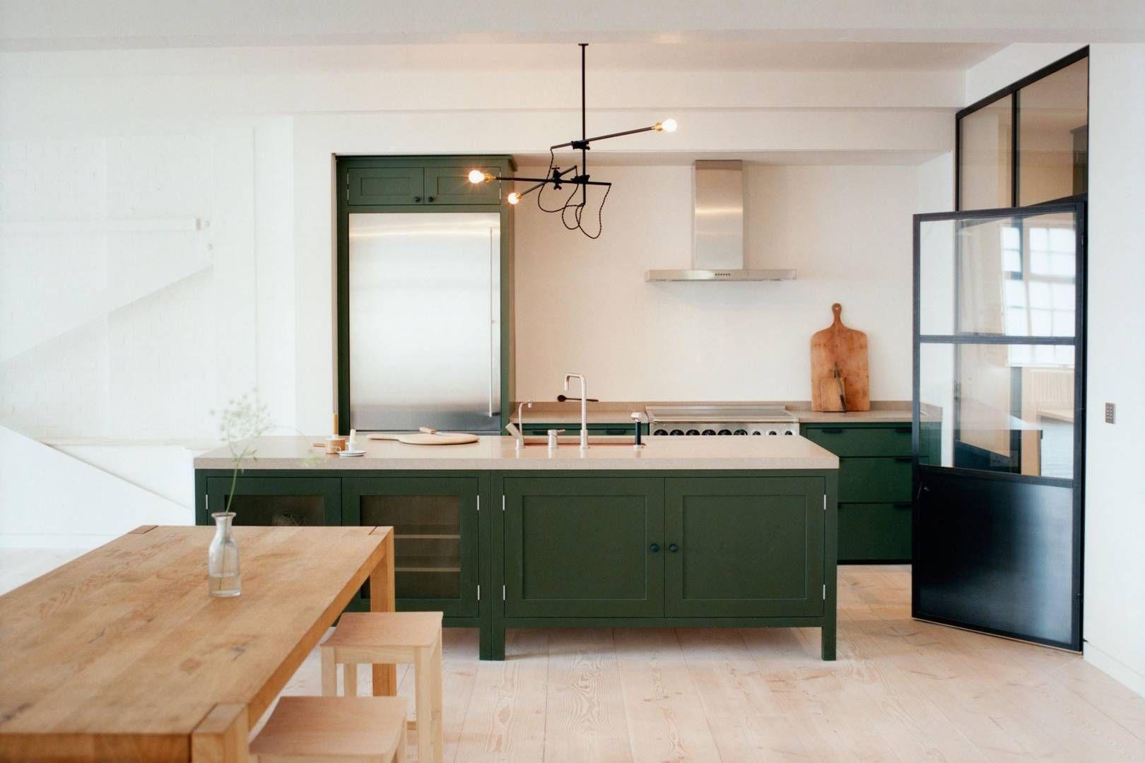 design ideas for colourful kitchens  dark green kitchen
