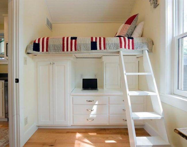Uberlegen Kleine Kinderzimmer Gestalten Praktische Betten Hochbett Weiß Schreibtisch