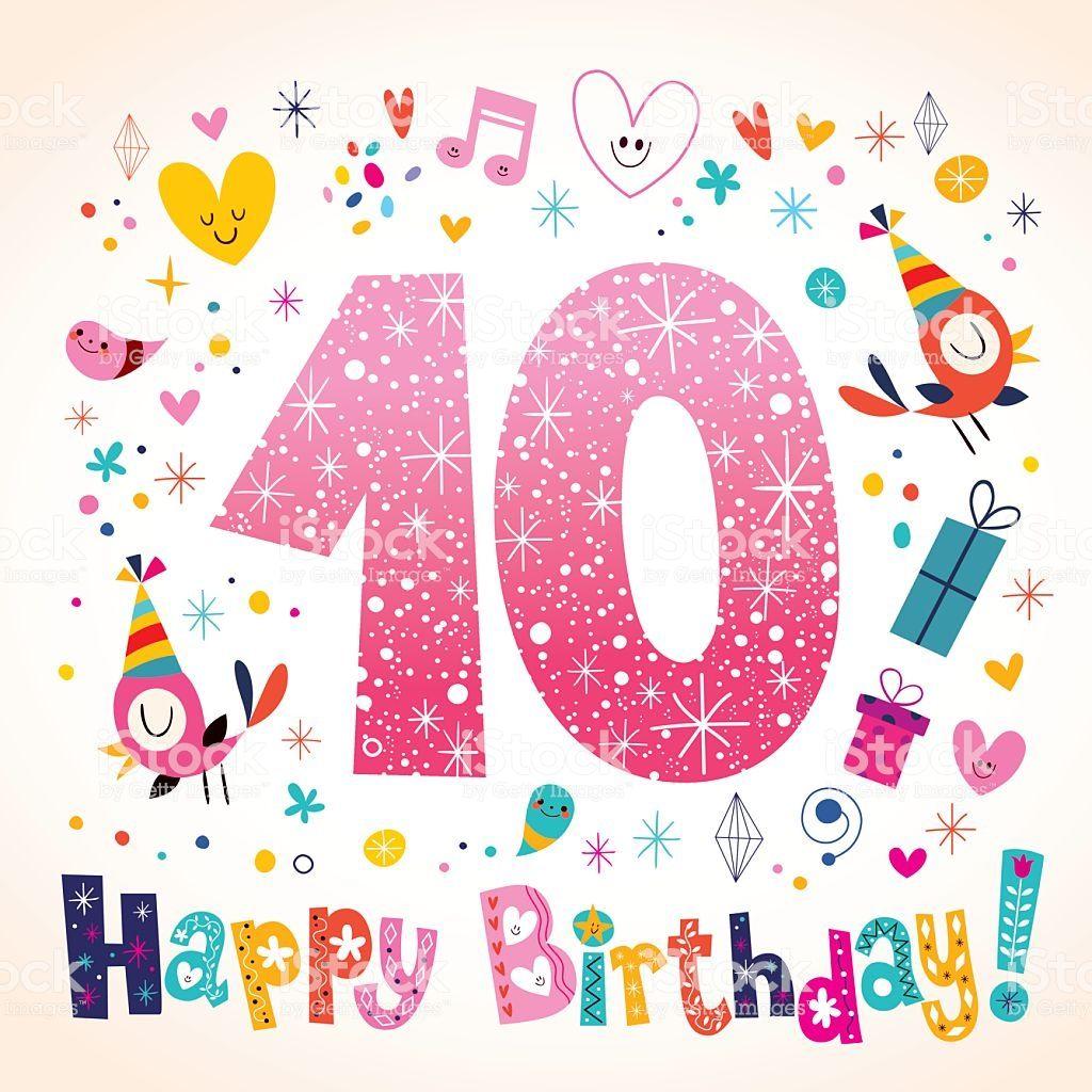 Happy Birthday 10 Years Kids Greeting Card Feliz Cumpleanos Nina Tarjetas De Cumpleanos Para Ninos Cumpleanos Ninos