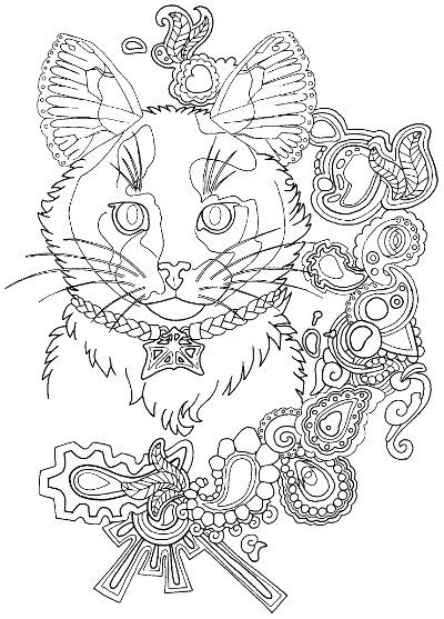 Tortoiseshell Cat Coloring Page For Adults Cat Coloring Page