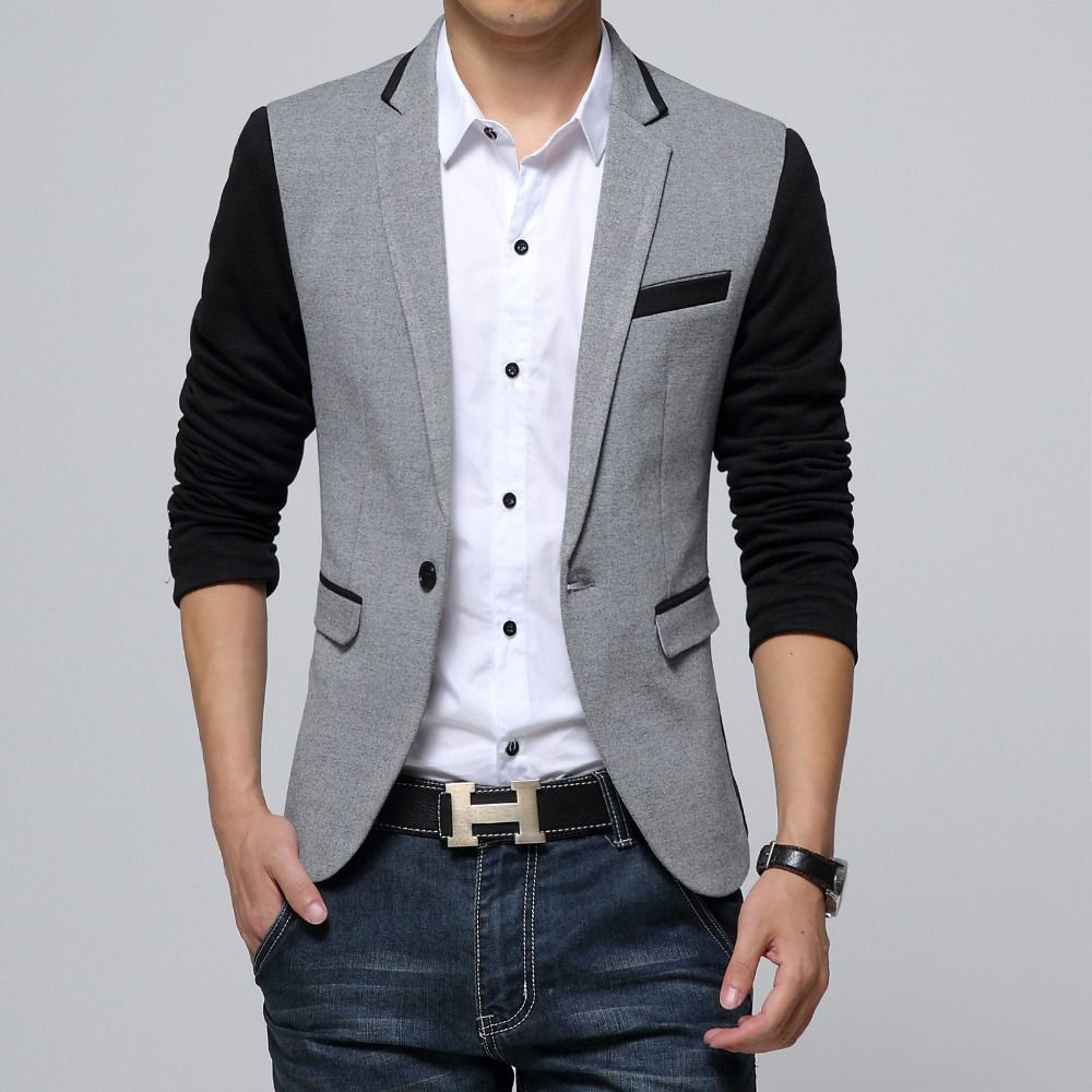 New Slim Fit Casual jacket Cotton Men Blazer Jacket Single Button ...