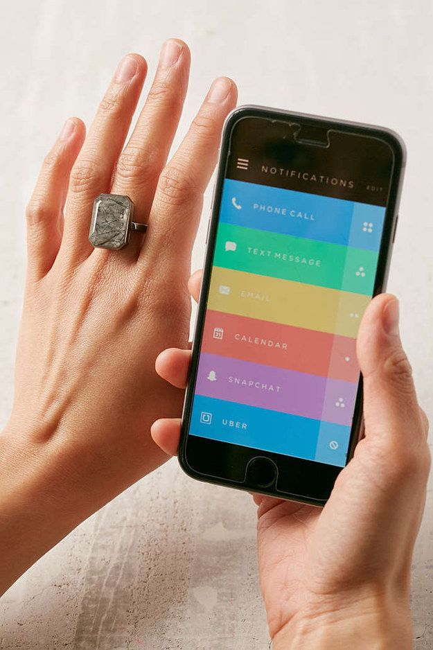 This Ringly Smart Ring ($200) that you can set to light up or vibrate…
