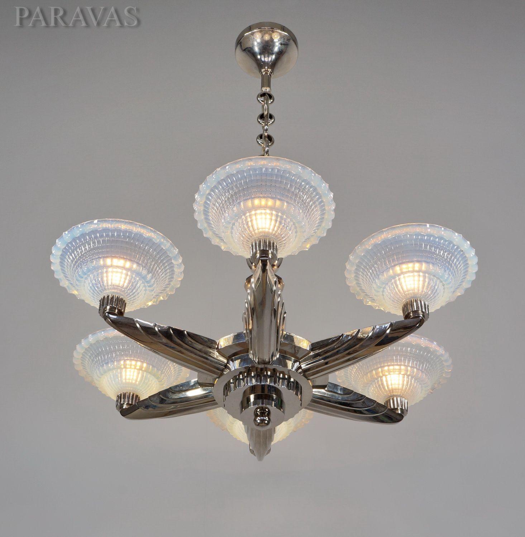 French 1930 35 art deco chandelier by la maison petitot with six french 1930 35 art deco chandelier by la maison petitot with six opalescent cups by arubaitofo Choice Image